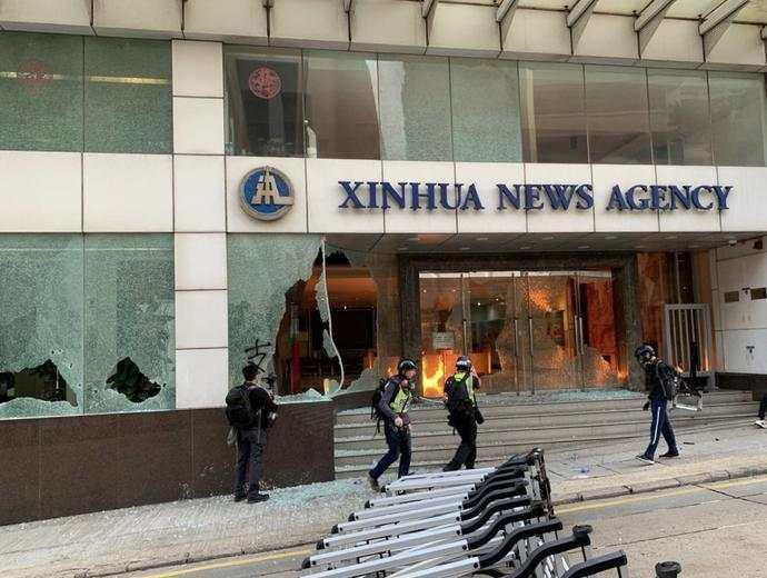 新华社香港分社遭纵火 香港新闻界发表声明谴责