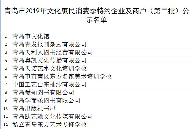 文化惠民消费季特约企业及商户名单(第二批)公示