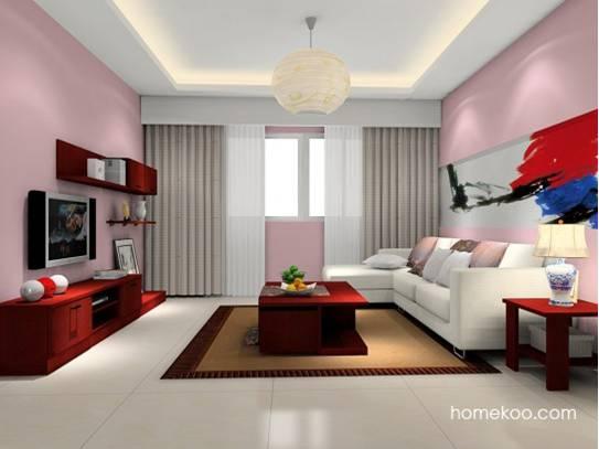 整个客厅的色彩以冷色调为主