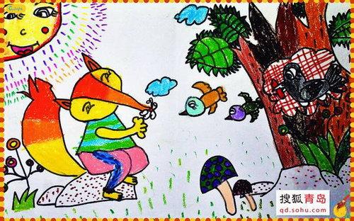 首届青岛自闭症儿童绘画展参展作品《狐狸与乌鸦》,作品由青岛儿童