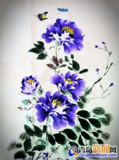 细品曾艾虹的绘画作品,其写意四色牡丹和水墨年画