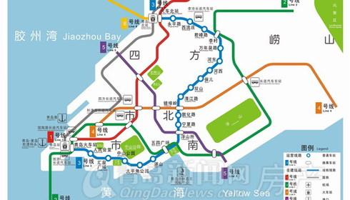 bg【线路图】地铁4号线规划问世:穿越青岛主城区 设21站总长约26.