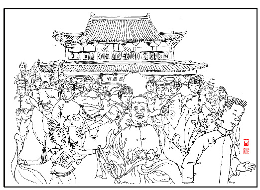 火车站景观广场线稿手绘