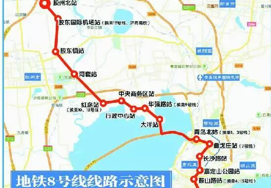 8号线沿线主要经过胶东国际机场,胶东镇,大沽河,河套,红岛火车站