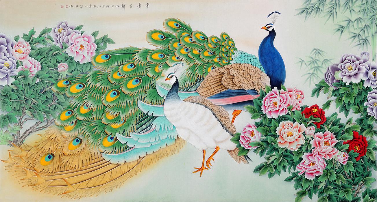 家居装饰画 王一容工笔画孔雀牡丹图《富贵呈祥》作品出自:易从网